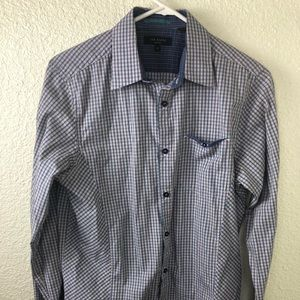 Ted Baker Plaids Checks Dress Shirt Blue